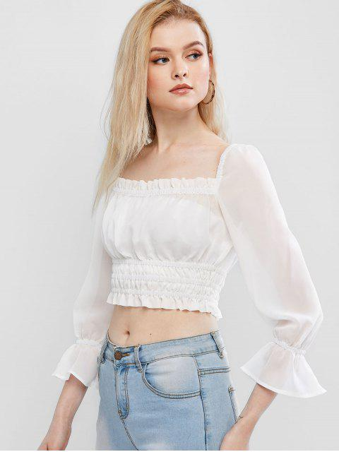 outfits ZAFUL Square Neck Ruffles Crop Blouse - WHITE S Mobile