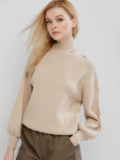 Cutout High Neck Drop Shoulder Sweater - Light Khaki