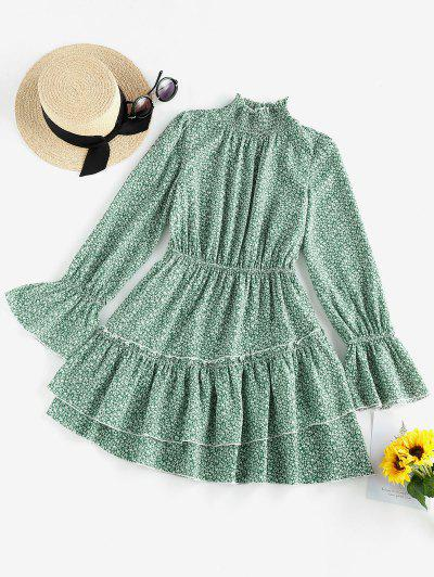 ZAFUL Ditsy Print Ruffle Neck Bell Sleeve Dress - Greenish Blue M