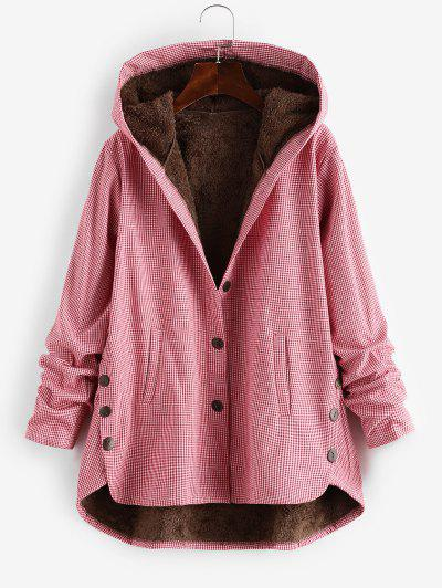 Button Up Gingham Hooded Coat - Red M
