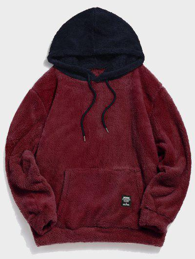Colorblock Splicing Drawstring Fluffy Hoodie - Red Wine L