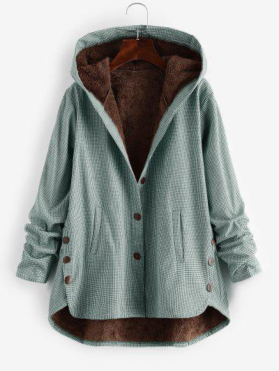 Button Up Gingham Hooded Coat - Green Xl