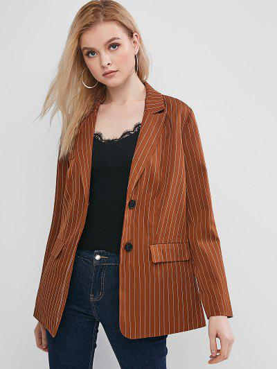 ZAFUL Mock Pocket Pinstripe Blazer - Deep Brown L