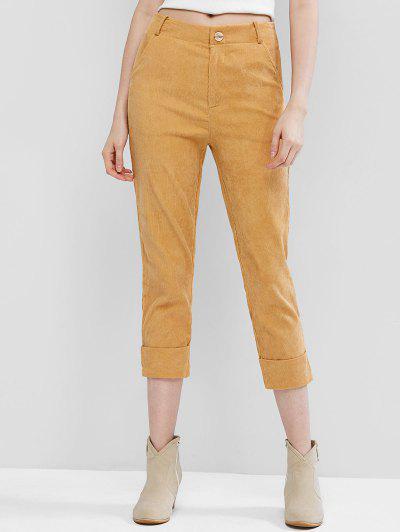 Corduroy Cuffed Zipper Fly Pocket Pants - Yellow L