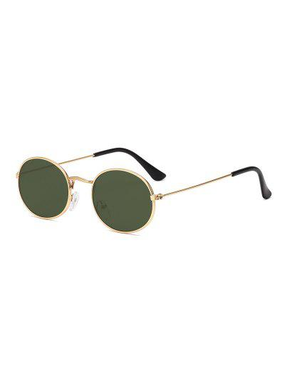 Metal Oval Anti UV Sunglasses - Dark Green
