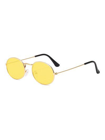 Metal Oval Anti UV Sunglasses - Yellow