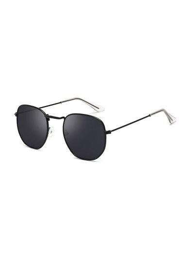 Metal Lightweight Square Sunglasses - Black Eel