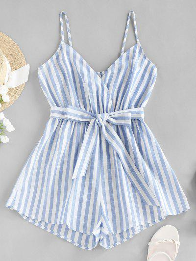 ZAFUL Striped Belted Cami Wide Leg Romper - Multi-a L