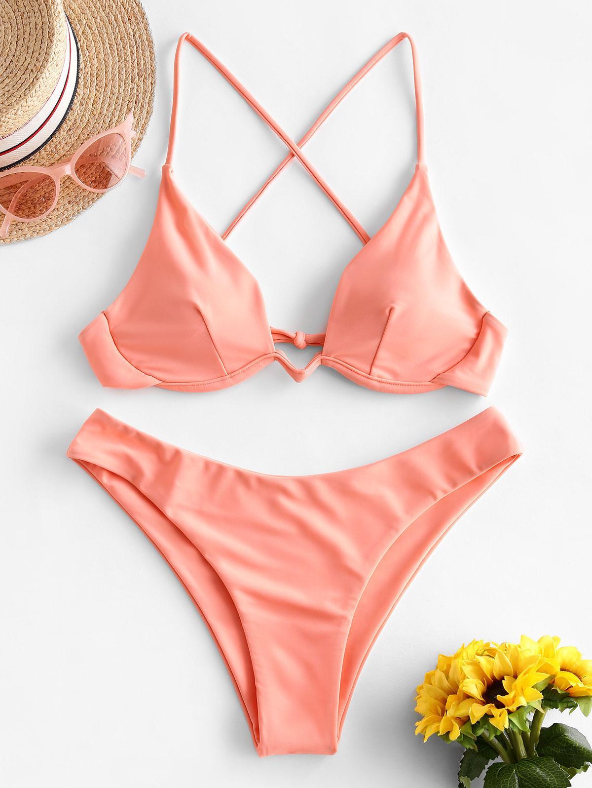 ZAFUL Crisscross Tie Underwire Bikini Swimsuit фото