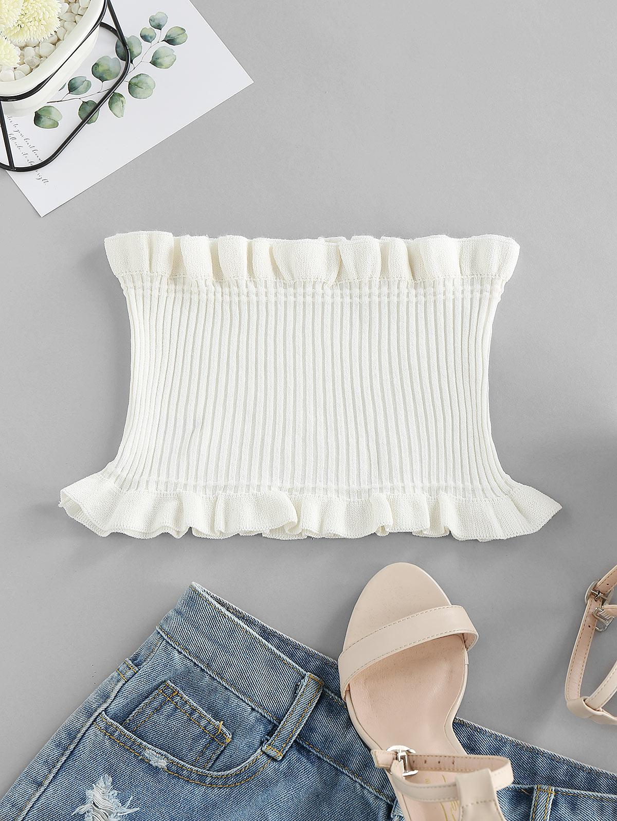 ZAFUL Strapless Ruffled Smocked Crop Top фото