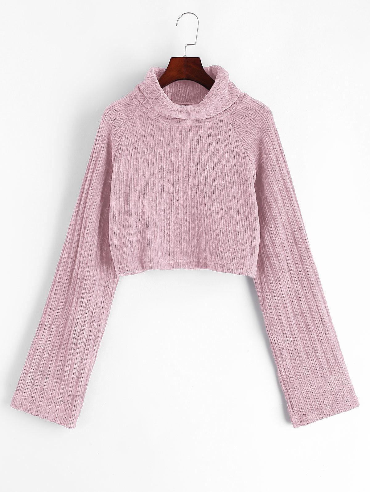 Chenille Turtleneck Raglan Sleeve Crop Sweater