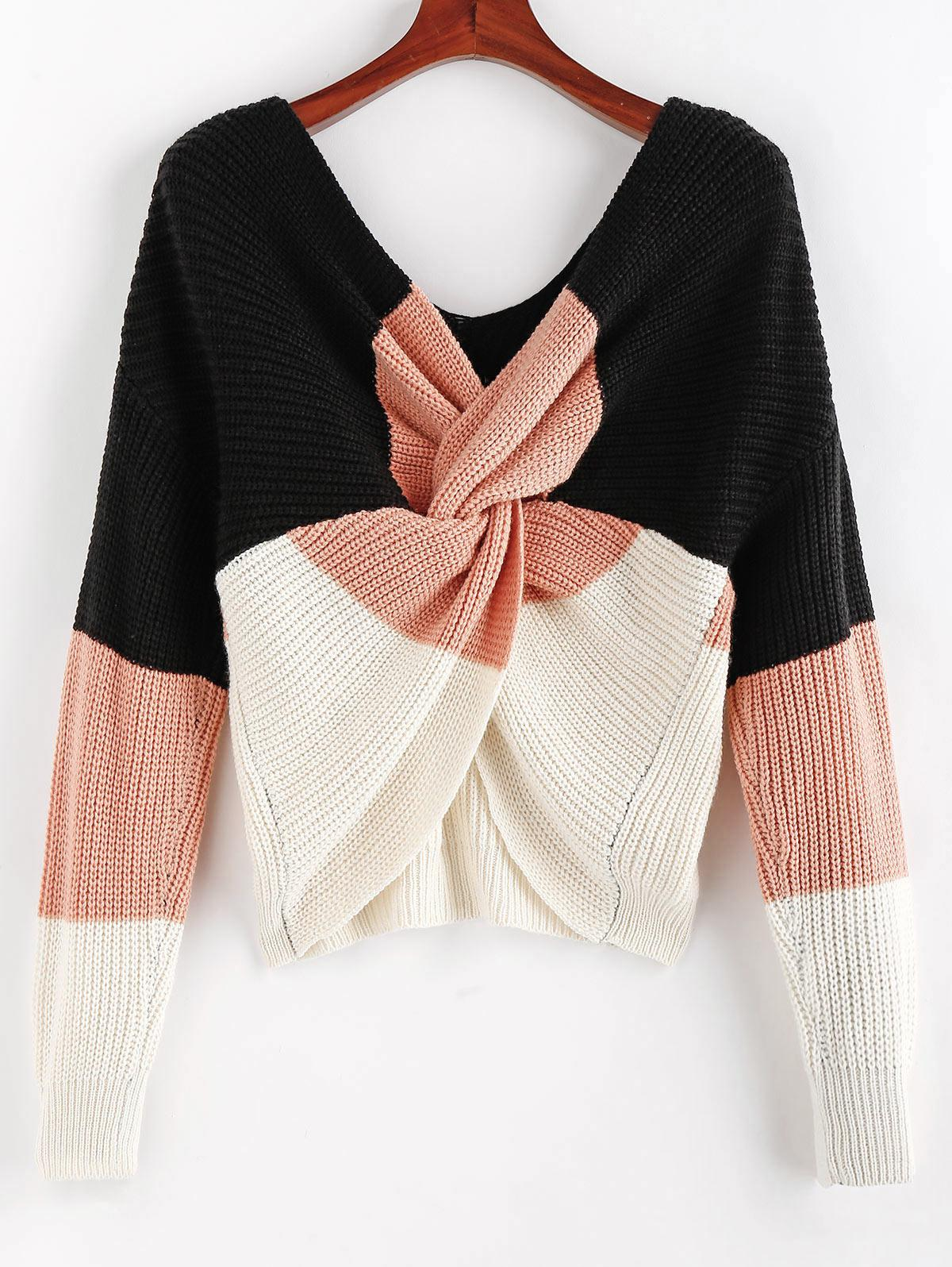 ZAFUL Colorblock Twisted Drop Shoulder Sweater