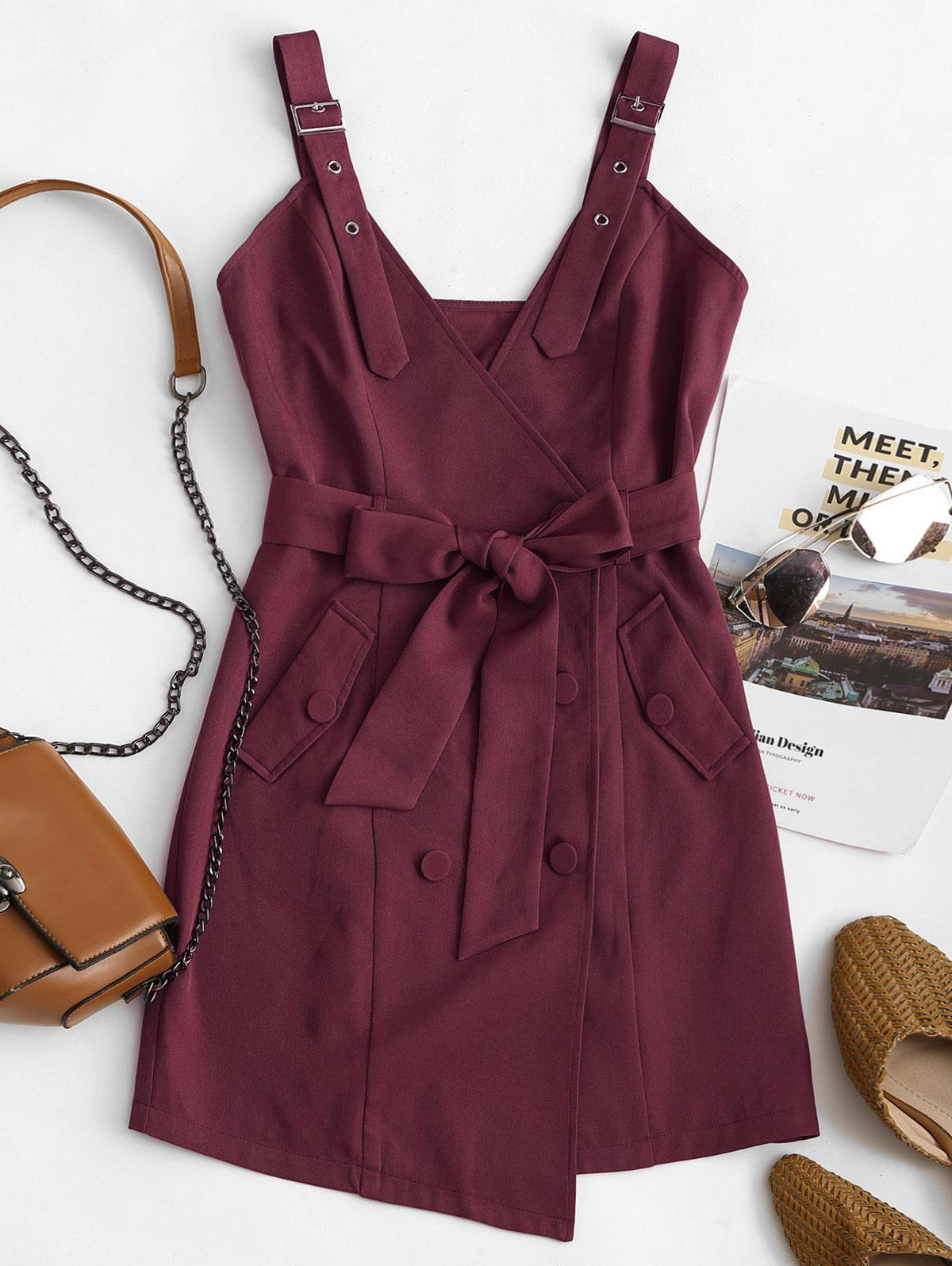 ZAFUL Belted Buckle Double Breasted Mini Dress