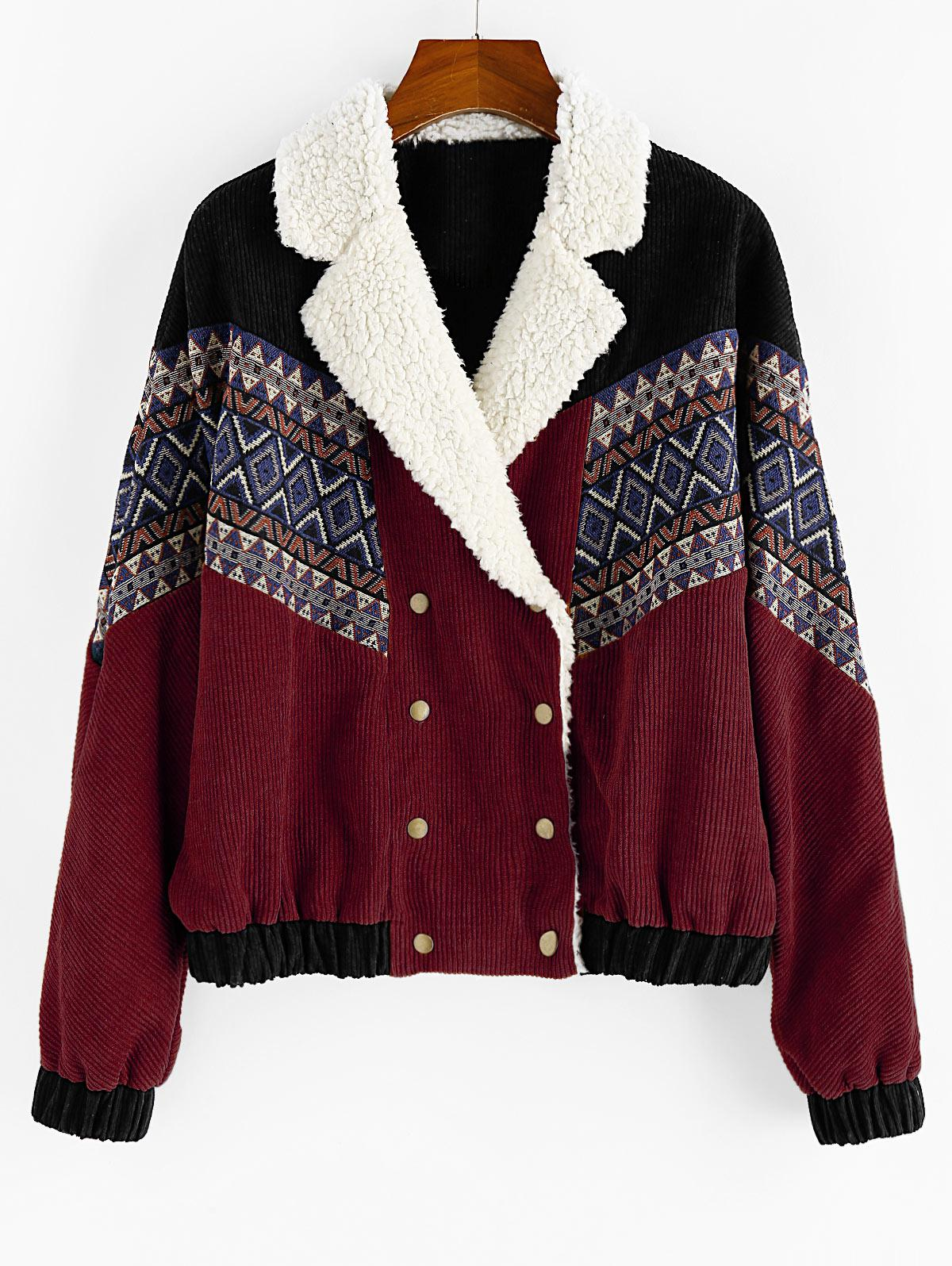 ZAFUL Double Breasted Tribal Print Faux Shearling Panel Corduroy Jacket