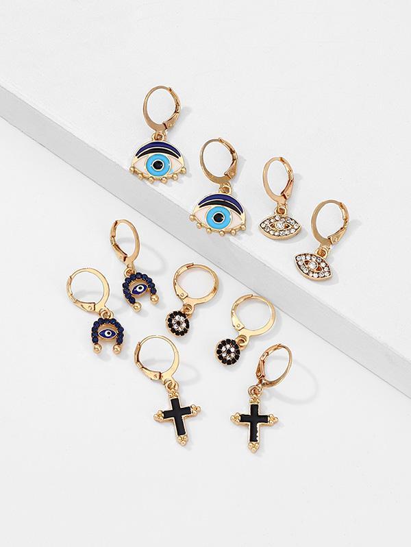 Rhinestone Eye Cross Shape Drop Earrings Set
