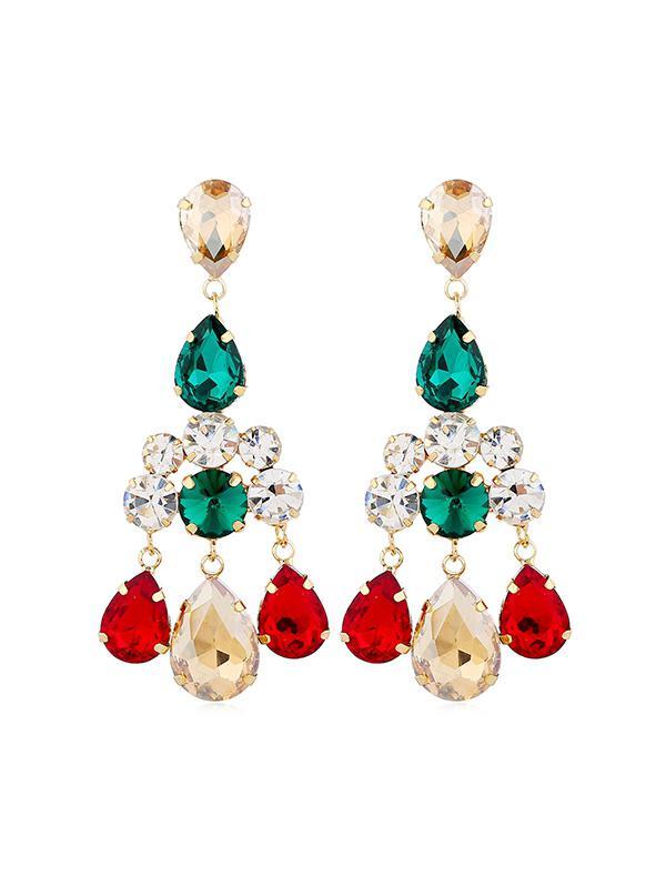 Rhinestoned Teardrop Chandelier Earrings