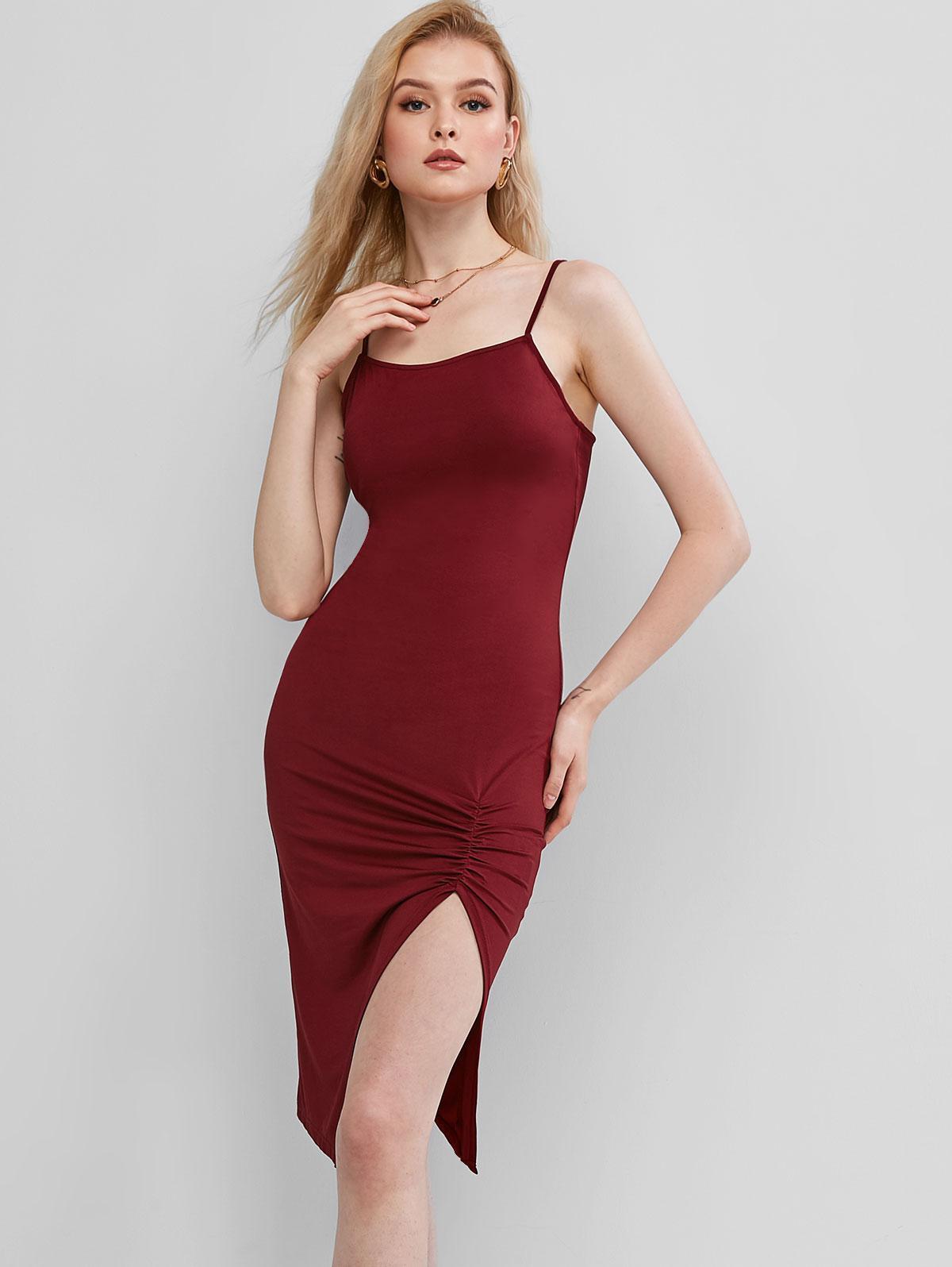 ZAFUL Ruched Bodycon Slip Dress