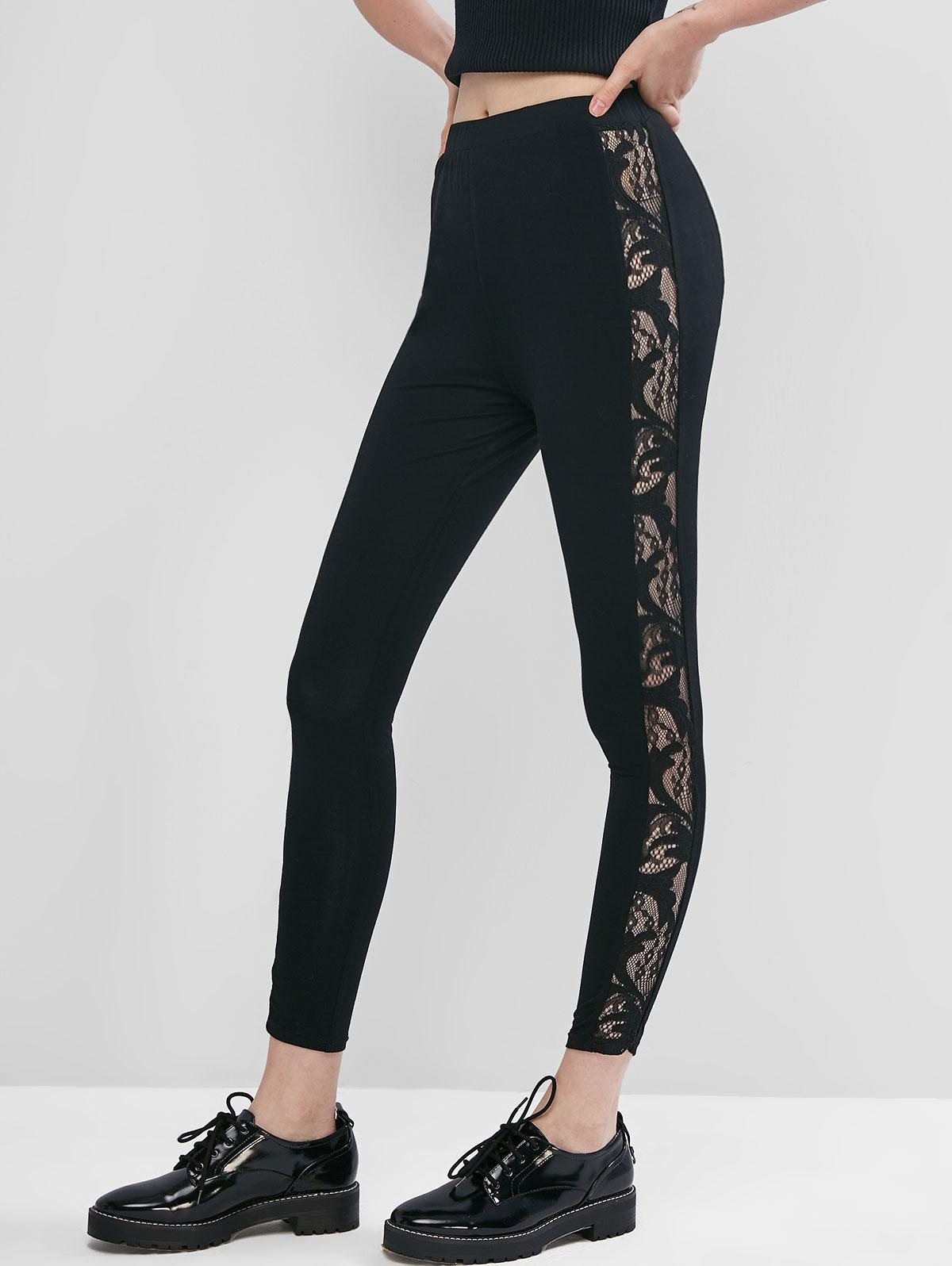 ZAFUL Pull On Lace Side High Waisted Leggings фото