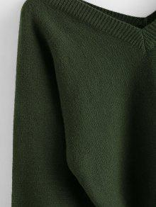 ZAFUL Raglan Sleeve Double V Neck Short Sweater
