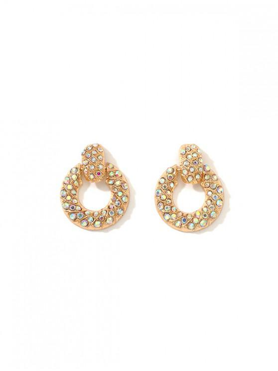outfit Colorful Rhinestone Circle Earrings - GOLD