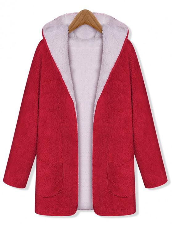 sale Hooded Fluffy Reversible Pocket Open Coat - RED ONE SIZE