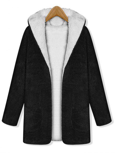 Manteau à Capuche Fourré Ouvert Réversible avec Poche - Noir Taille Unique Mobile