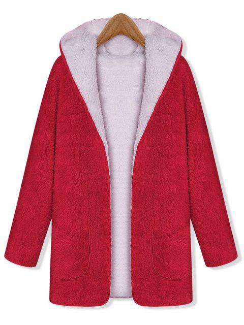 Manteau à Capuche Fourré Ouvert Réversible avec Poche - Rouge Taille Unique Mobile