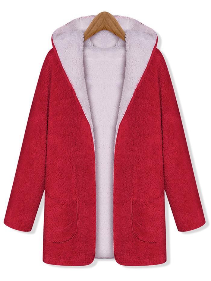 Hooded Fluffy Reversible Pocket Open Coat