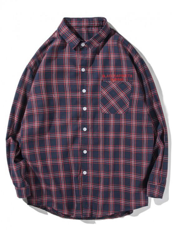 womens Plaid Letter Pattern Button Long-sleeved Shirt - DENIM DARK BLUE S