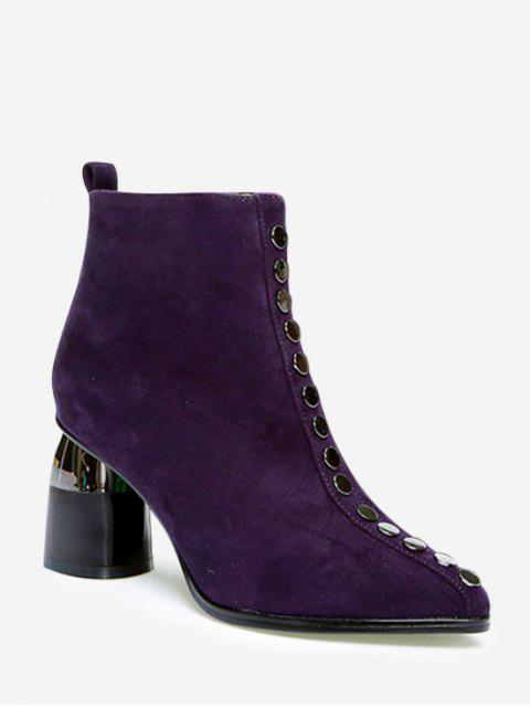 women Front Stud Pointed Toe High Heel Ankle Boots - PLUM PURPLE EU 37 Mobile