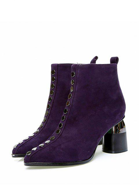 unique Front Stud Pointed Toe High Heel Ankle Boots - PLUM PURPLE EU 39 Mobile