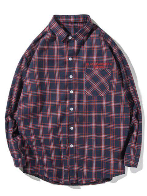 Botón del modelo a cuadros de la letra camisa de manga larga - Azul Oscuro de Denim M Mobile