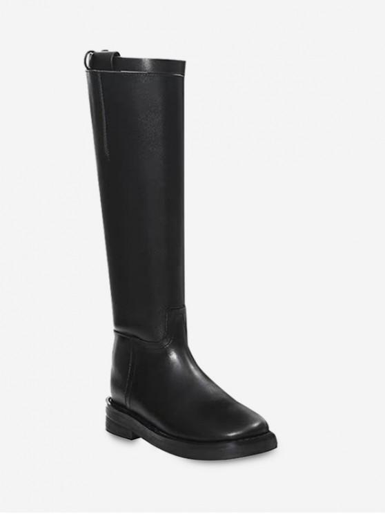 women's Buckle Strap Simple Low Heel Thigh High Boots - BLACK EU 38