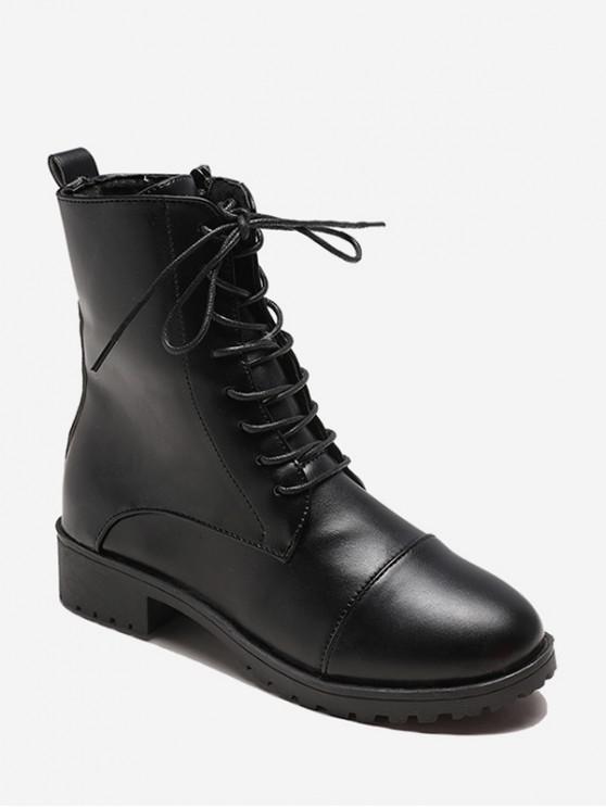 online Simple Low Heel PU Leather Short Boots - BLACK EU 38