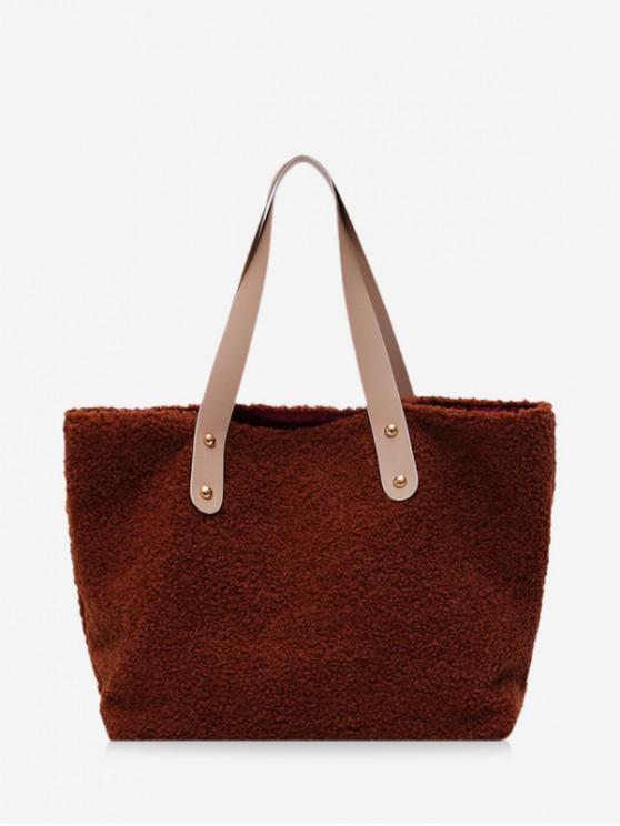 unique Plain Plush Large Capacity Tote Bag - BROWN