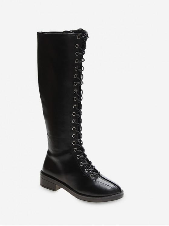 best Lace Up PU Leather Knight Knee High Boots - BLACK EU 42