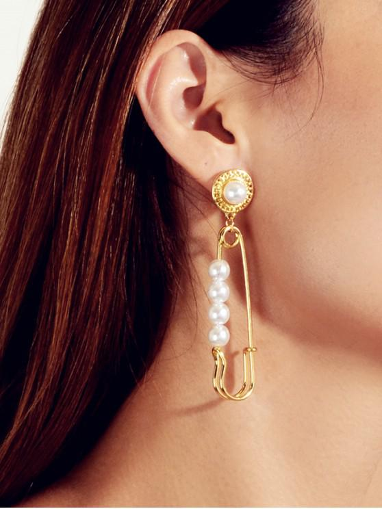 outfits Faux Pearl Safety Pin Shape Earrings - GOLD
