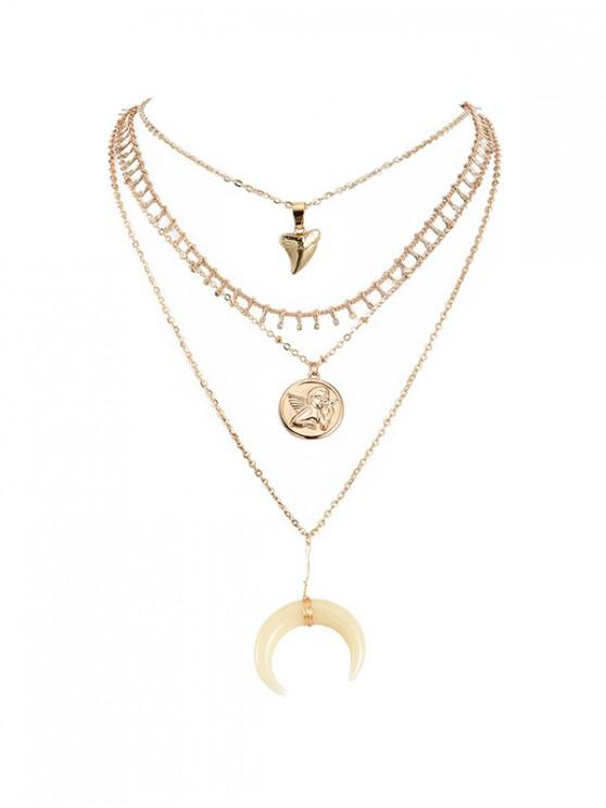 shop Angel Crescent Pendant Layered Necklace - GOLD