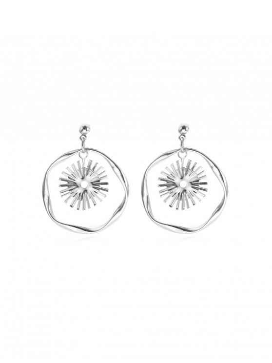 fashion Sun Circle Drop Earrings - SILVER