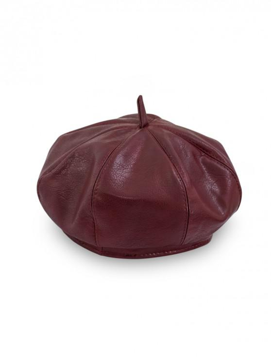 fancy Japanese Octagonal Beret Cap - RED WINE