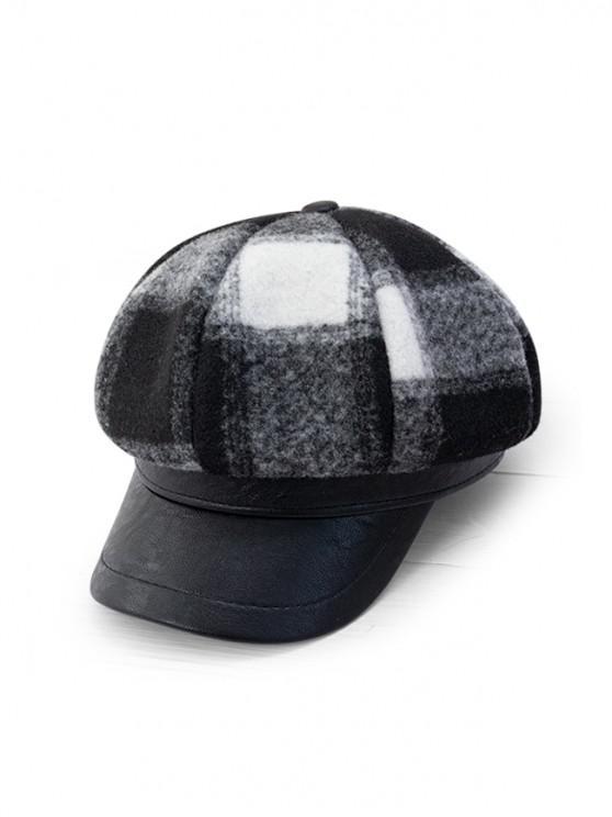 Шляпа-газетчик Клетчатый принт Лоскутное изделие - Чёрный