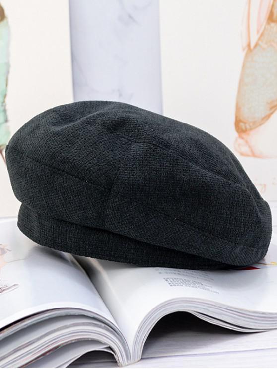 Lã Hat Beret Sólidos - Preto