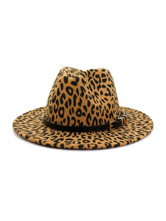 fancy Leopard Print Jazz Hat - LIGHT KHAKI