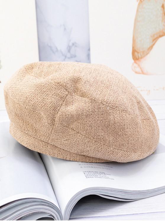 affordable Woolen Solid Beret Hat - CAMEL BROWN