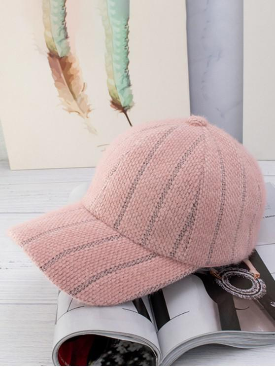 women Winter Fleece Striped Baseball Cap - LIGHT PINK