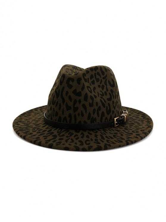 women's Leopard Print Jazz Hat - ARMY GREEN