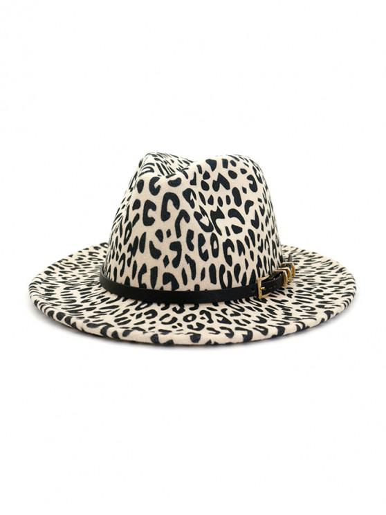 hot Leopard Print Jazz Hat - BEIGE