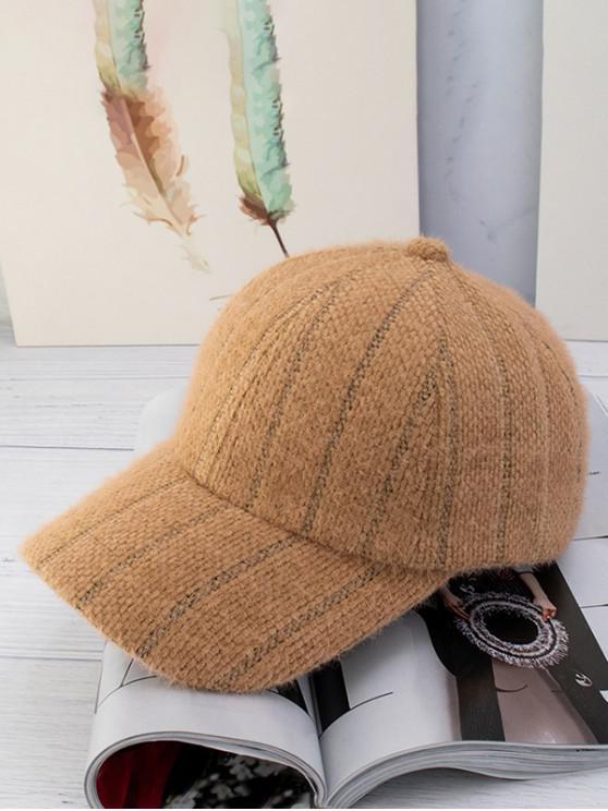 buy Winter Fleece Striped Baseball Cap - CAMEL BROWN