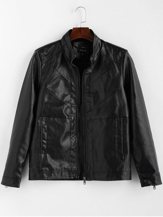 women Solid Color Zipper Faux Leather Jacket - BLACK M