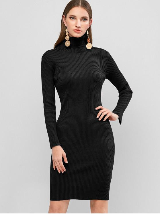 best Turtleneck Ribbed Sheath Sweater Dress - BLACK ONE SIZE